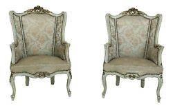 F25765ec Pair Antique French Louis Xv Style Wing Chairs