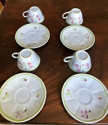 Mon Jardin By Longchamp Four- 4 China Cups And Saucers Hand Painted France