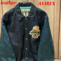 Rarity Avirex Extra Large Size 4xl With Collar Oar Leather Stajan Size 4xl5l