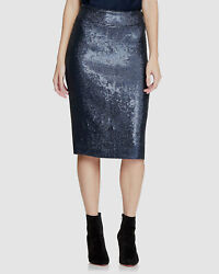520 Halston Womenand039s Blue Sequined Pencil Embellished Knee Length Skirt Size 2