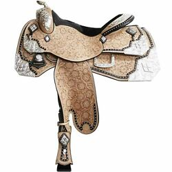 Cowhide Genuine Leather Western Pleasure Silver Show Horse Saddle Size 14 To 18