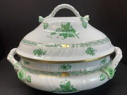 Vtg Herend Chinese Bouquet Green Large 4 Qt Porcelain Soup Tureen Retail 1,900
