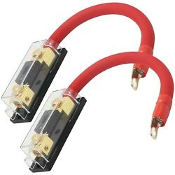 2x 200 Amp Anl Gold Terminal Fuse Holder Battery Install Kit 0 Gauge 1ft Ofc Red