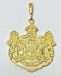 14k Yellow Gold Hawaii State Seal Coat Of Arms Crest 30mm X 30mm Pendant 12.2g