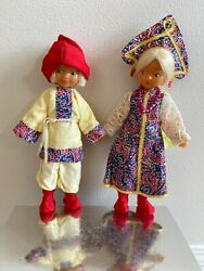 Vintage Set Of 2 Russian Dolls In Ethnic Dress 1970's Ussr Russia