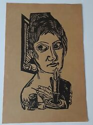 Antique Max Beckmann Woodcut/screen Print Woman With Candle