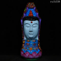 16.2collection Old China Song Dynasty Pinching Silk Enamel Guanyin Statue