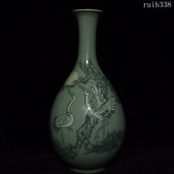 14.2old China Collection Song Dynasty Gaoli Porcelain Pine Crane Bottle