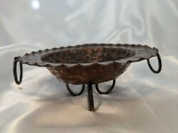 Vintage Hammered Small Copper Bowl With 2 Copper Ring Handles Footed Rings Boho