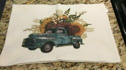 Farmhouse Throw Pillow Cover Sunflower Floral Vintage Truck 12 X 16 Made In Usa