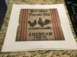 Farmhouse Throw Pillow Cover Chicken Feed Sack 18 X 18 Made In Usa