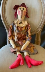 Primitive 31 Handmade Raggedy Ann Doll Wearing Her Red High Boots Americana