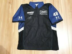 Jimmie Johnson Signed 2016 Lowes Pro Services Race Used Crew Shirt Jsa Coa