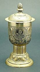 Early 20 Century German Silver Lidded Goblet With 2 Augsburg Talers 1694 And 1765