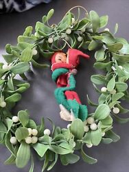Vintage Pixie Elves 1960's Wire Body Hugging On Wreath Hong Kong