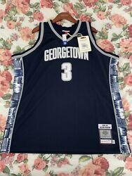 Allen Iverson Authentic Mitchell And Ness Georgetown Jersey Xxl 2xl Size 52
