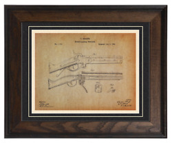 Firearms Patent Reproduction, Sharps Rifle 1864 Custom Matted And Framed