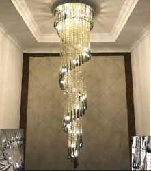 Led Modern Crystal Stair Chandelier Living Room Lamp Ceillinglight 3colours