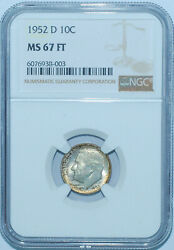 1952 D Ngc Ms67ft Full Torch Roosevelt Silver Dime