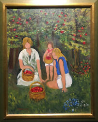 Elsa Fredericks Canadian - Oil On Canvas - The Apple Pickers