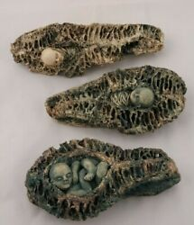 Ceramic/pottery 3 Pc Figurines In Seed Pods Mexican Fine Art Collectible Decor