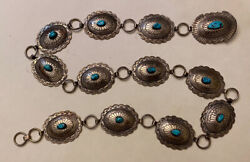 Big 638g Sterling Native American Turquoise Concho Navajo Belt Old Pawn Silver