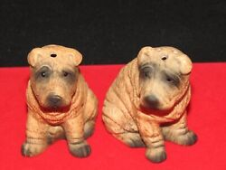 Vintage Chinese Brown And Black Char Pei Salt And Pepper Shaker Set Lot