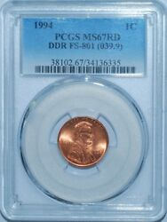 1994 Pcgs Ms67rd Fs-801 Ddr Red Doubled Die Reverse Lincoln Cent Tied 4 Finest