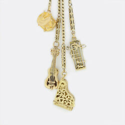 Gold Charm Necklace - Vintage Make Sweet Music Charm Necklace 9ct Yellow Gold