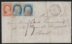 1855 Folded Cover From Lima Peru To Paris France Via Nyc, Scott 9 Pair And 11