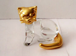 Glass Kitty Cat with Gold Gilt Accents
