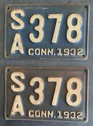 Connecticut 1932 License Plate Pair - Nice Quality Sa 378
