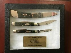 Case Knife Collectors Set of 3 Green Jigged Bone Knives with Display Case