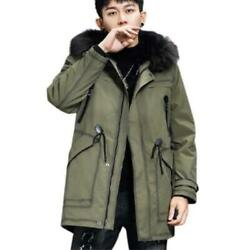 Winter Mens Real Fox Fur Lined Collar Hooded Parka Coats Thicken Warm Outwear L
