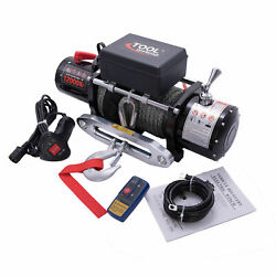 12v 12000lb Trailer Quiet Brake Car Electric Winch Synthetic Rope
