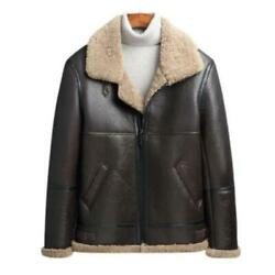 Winter Real Sheep Leather Mens 100 Wool Lined Business Jackets Lapel Warm New L