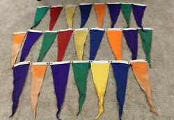 Lot Of 24 Old Vintage Race Track Pennants Winners Circle Flags - Rare