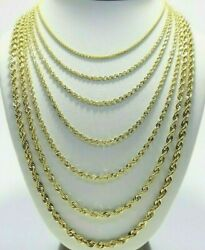 Real 10K Yellow Gold 2mm 6mm Diamond Cut Rope Chain Necklace Bracelet 16quot; 30quot;