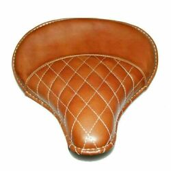 Leather Front Solo Brown Saddle Seat Diamond Stitch For Royal Enfield Electra