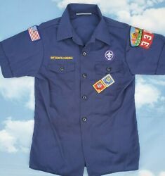 Official Boy Scout Cub Scout Shirt Short Sleeve Blue Youth Medium