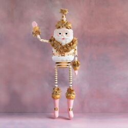 """Glitterville Gold And Blush Papa Noel Display Papermache Figure 72"""""""