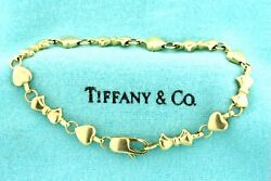 And Co. Bracelet Hearts Ribbons Bows 18k Yellow Gold 7.25 Heavy 17g Charm