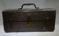 Antique Falls City Steel Tackle Box W/ Two Inner Tiers Sn