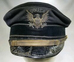 Antique The Sousa Band Hat W/ Leather And Fabric Band Sn