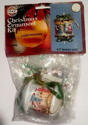 Vintage Walco Christmas Eve Ornament Kit Panorama Village Sequins Beads Toy Book