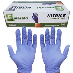 Nitrile Gloves Large Powder Free Emerald Rubber Gloves Non-latex Free Ship