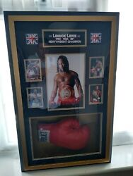 Lennox Lewis Framed Glove. A Totally One Off Unique Item