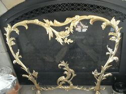 Antique 1890-1920s French Louis Xv Style Brass Fireplace Screen Rococo Features