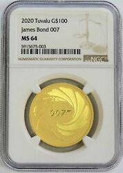 2020 Gold Tuvalu James Bond 007 100 Coin 1 Oz Ngc Mint State 64