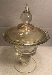 """Paden City Glass Covered Candy Compote 10.5"""" Tall Amber Lid Clear Bottom Ant"""